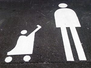 symbols of person and stroller